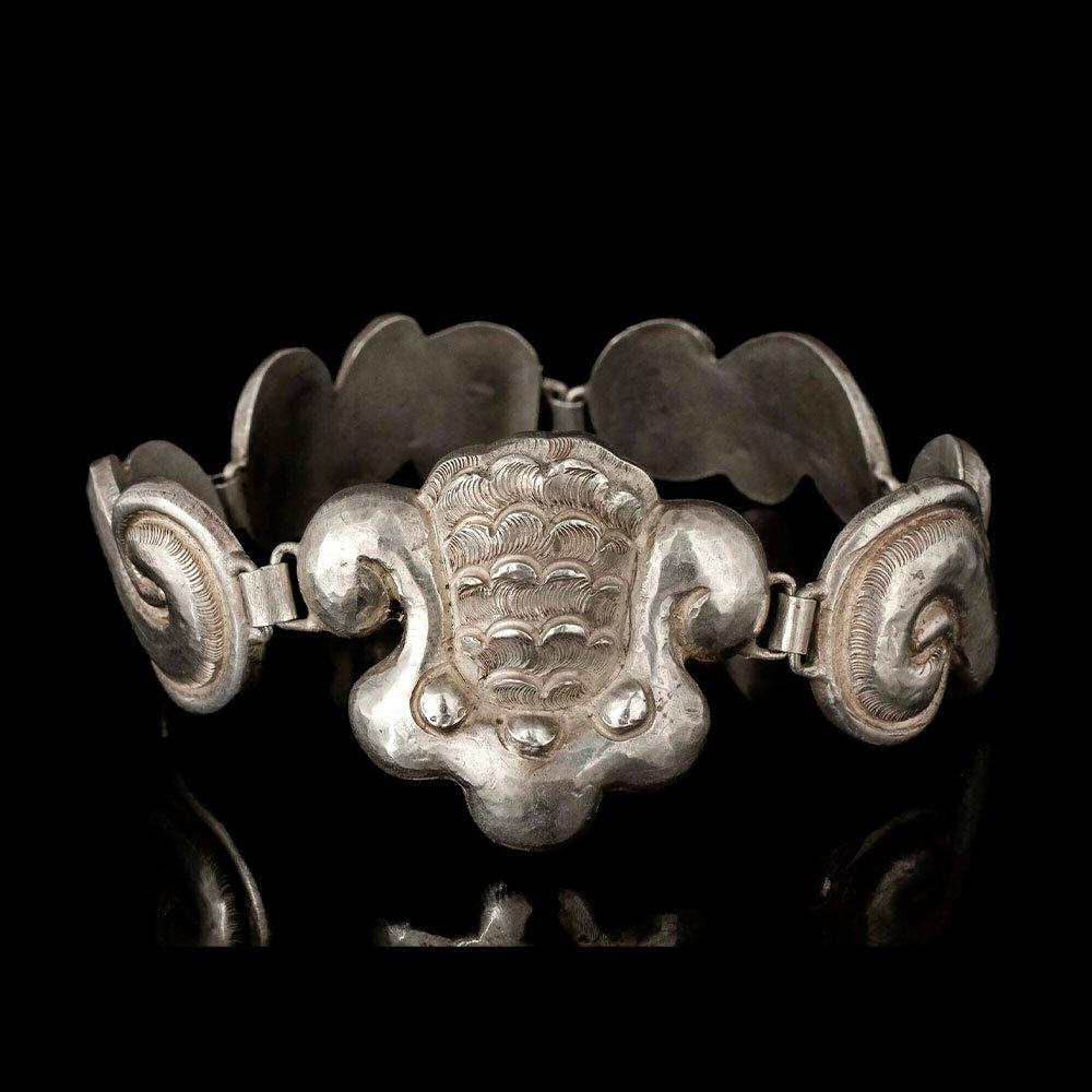 Matl Matilde Poulat Mexican silver repousse Bracelet
