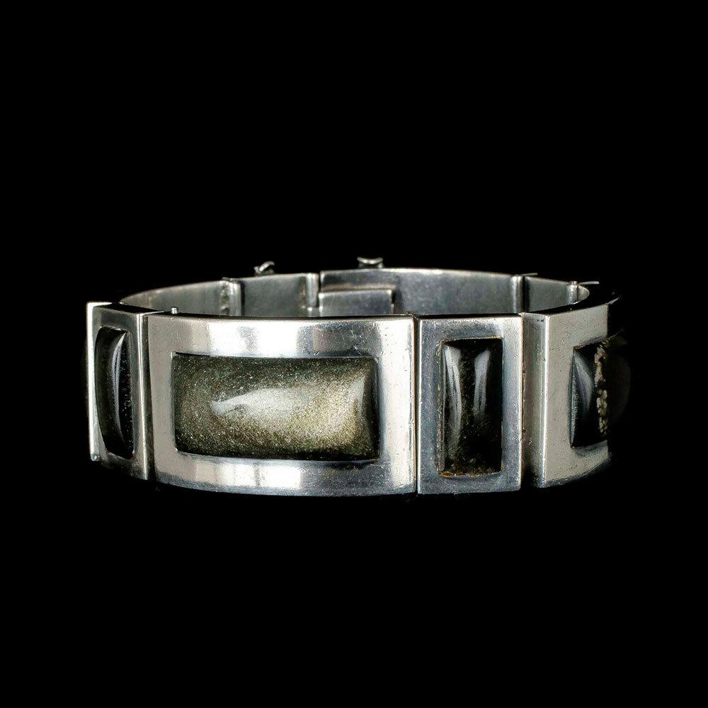 F. Martinez Piedra y Plata Mexican silver obsidian Bracelet