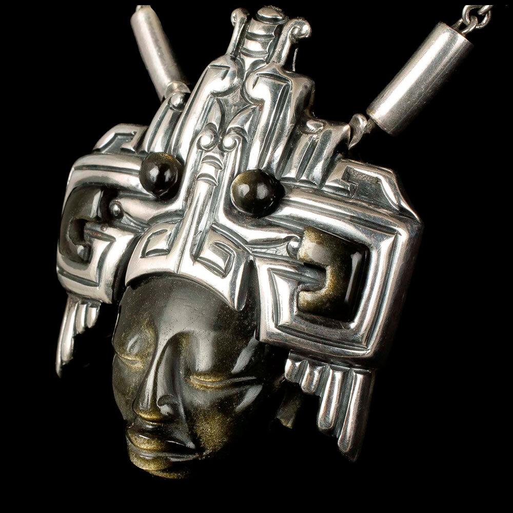 Felipe Martinez Piedra y Plata Mexican silver obsidian Necklace