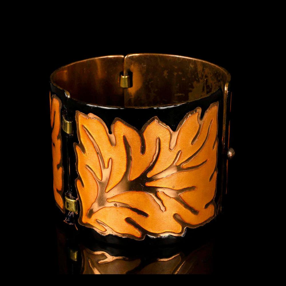 Margot de Taxco Mexican enamel over copper Bracelet