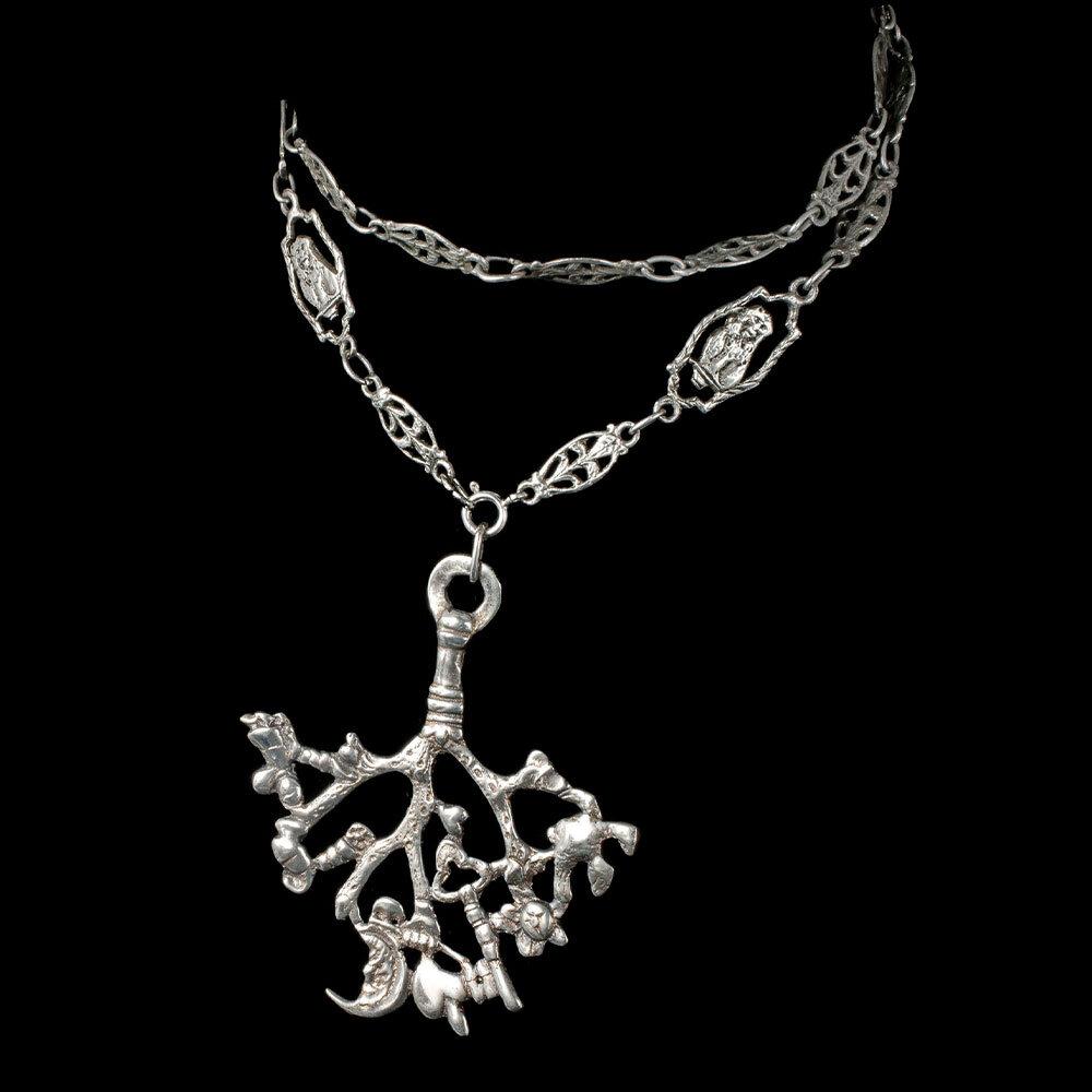 Flli Coppini 800 silver cimaruta Pendant Necklace Italian figural links chain