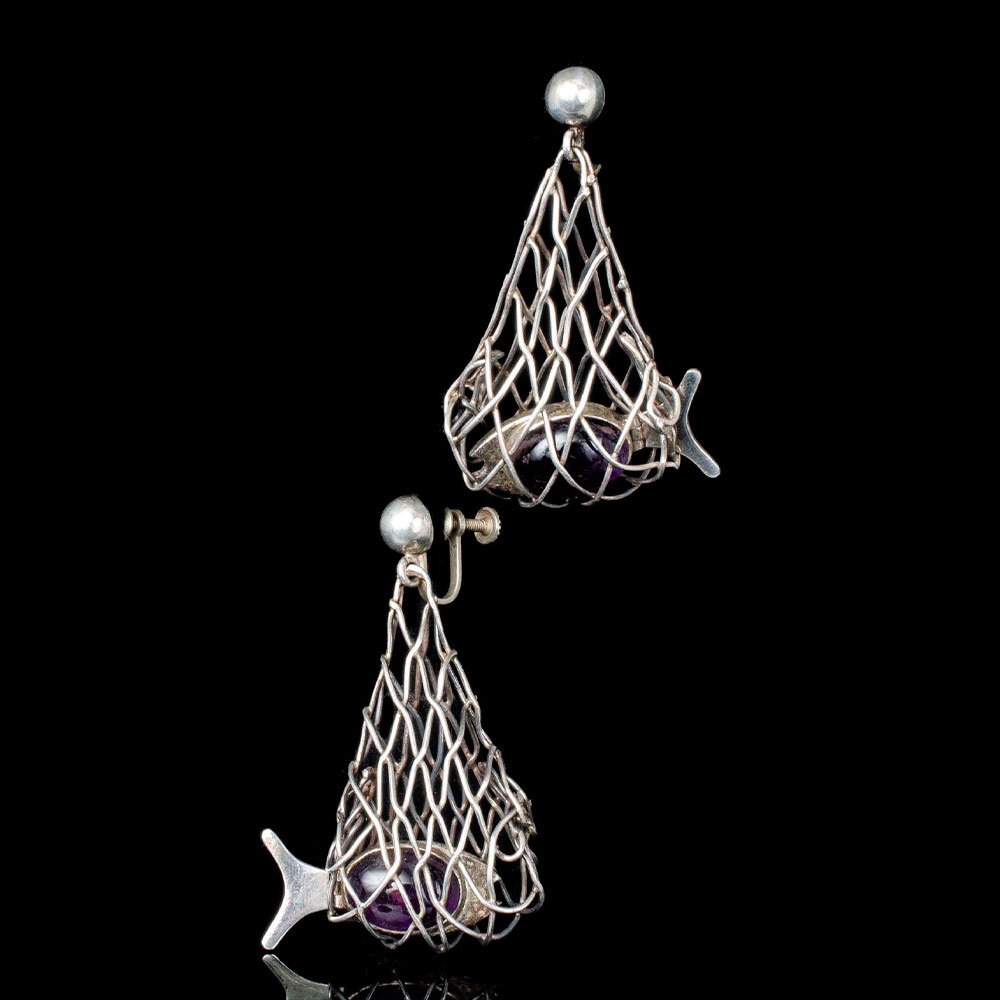 Mexican silver and amethyst fish-in-net Earrings