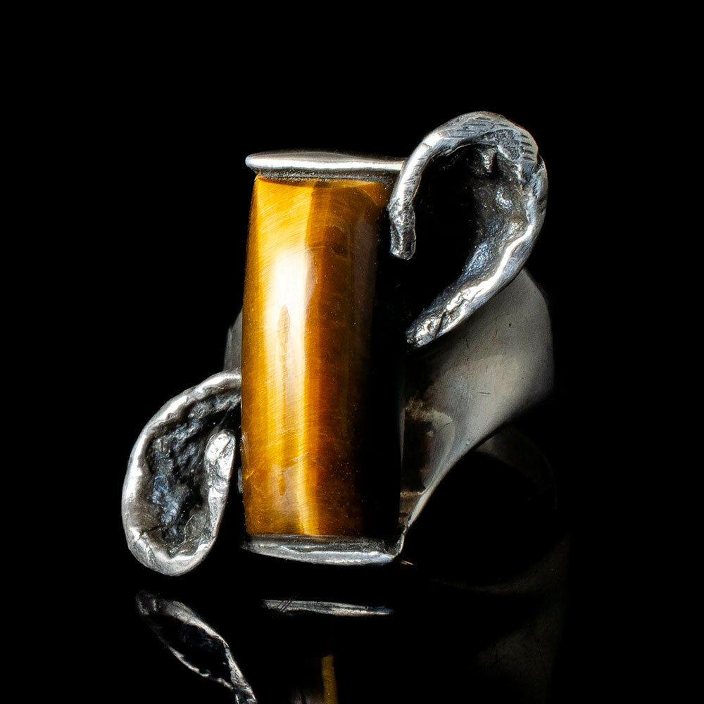 Mateo Mexican 950 silver tiger's eye modernist Ring