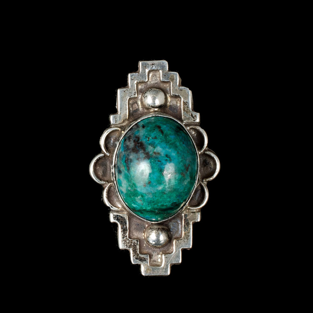 Mexican Deco silver overlay green stone Ring