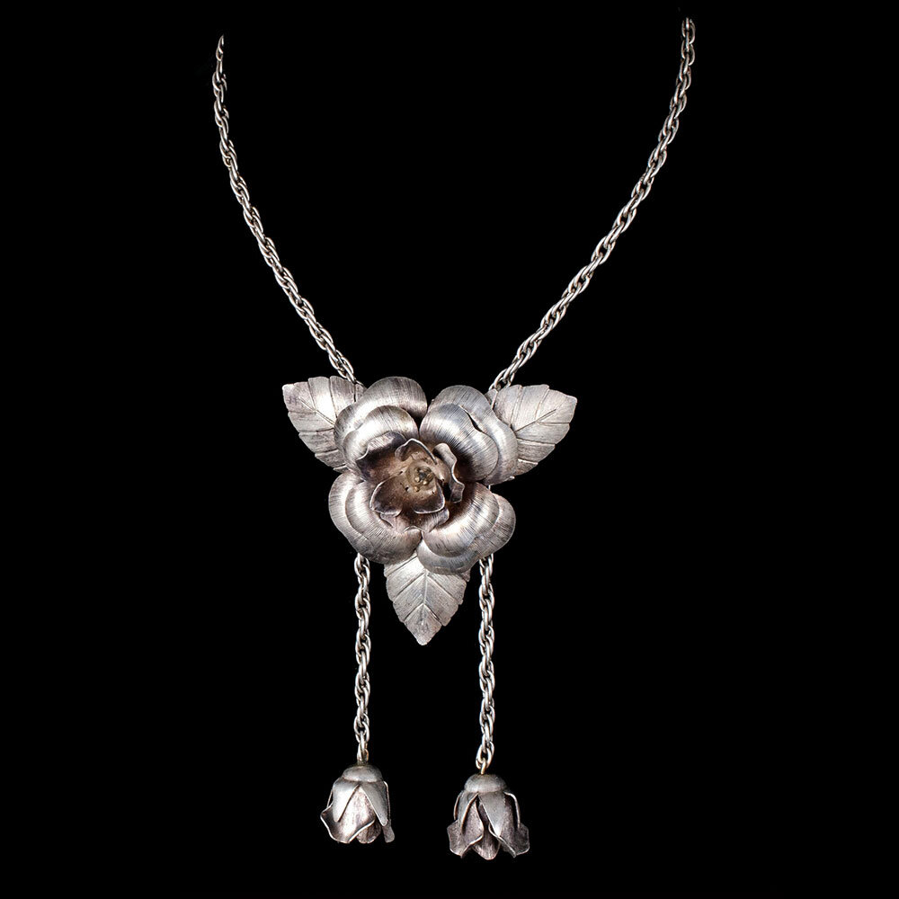Mexican Deco silver roses Brooch / Lariat Necklace
