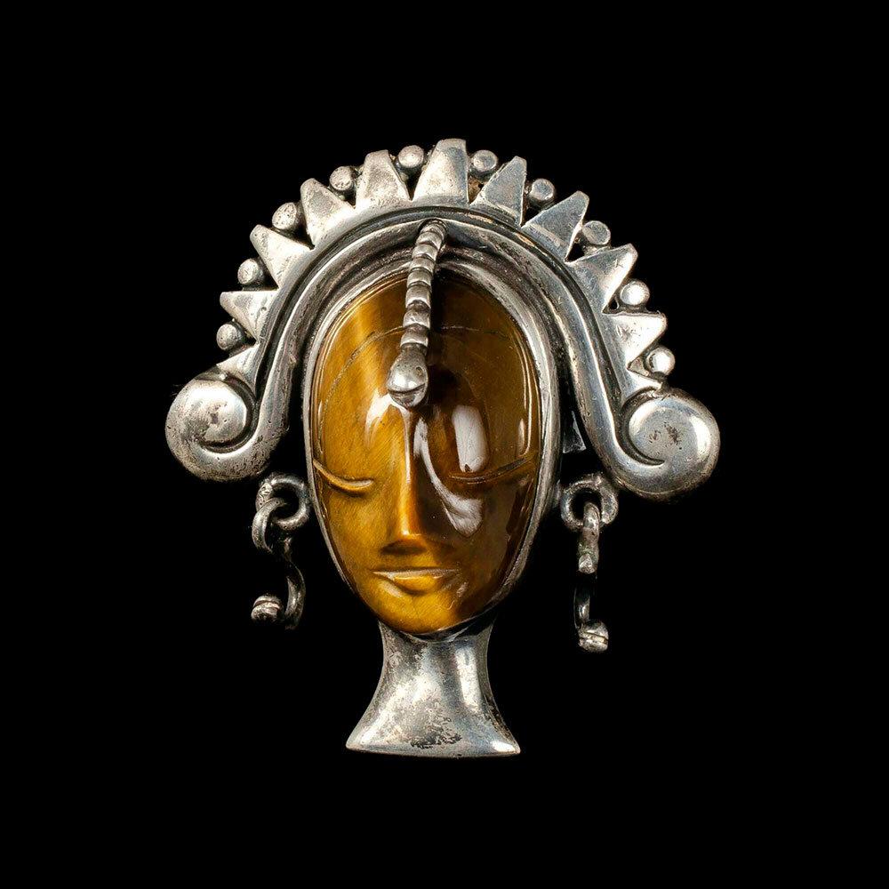 """Los Ballesteros Mexican silver tiger's eye Cleopatra """"mask"""" Bolo Tie"""