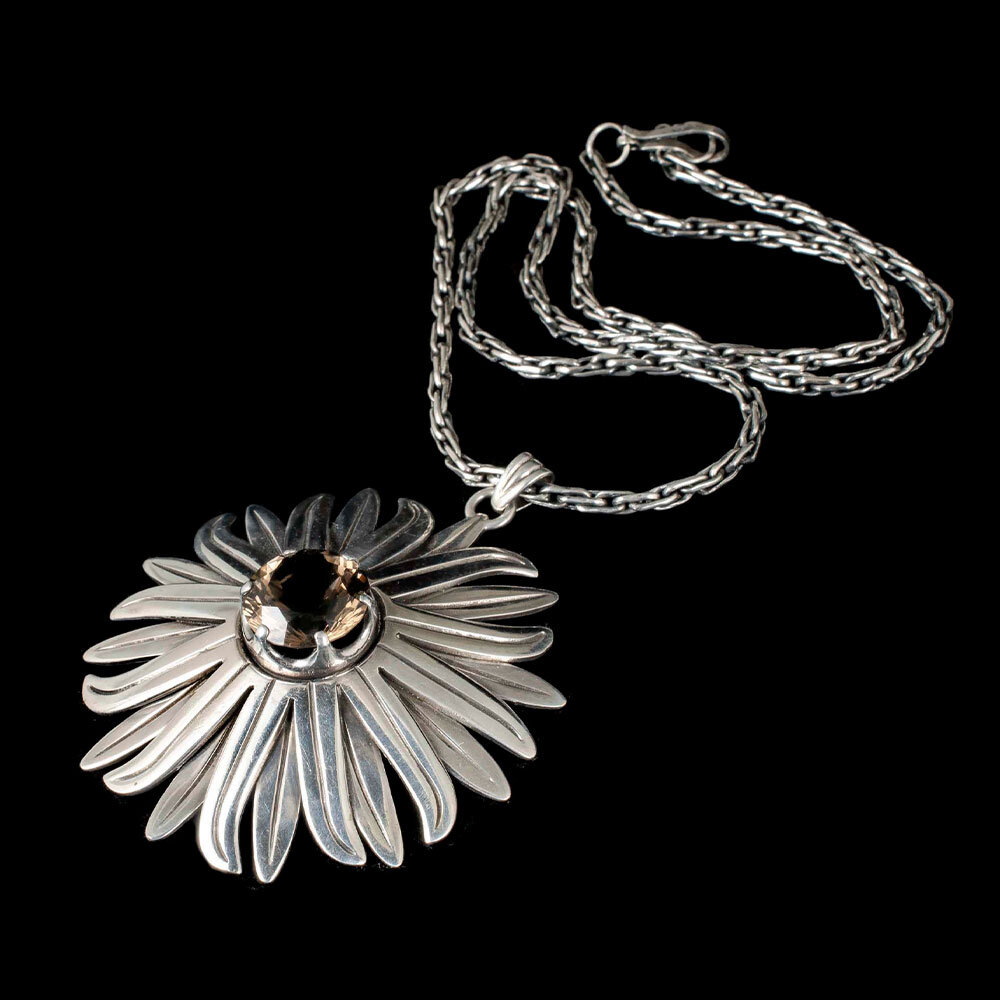 Los Ballesteros Mexican silver citrine floral Pendant Necklace