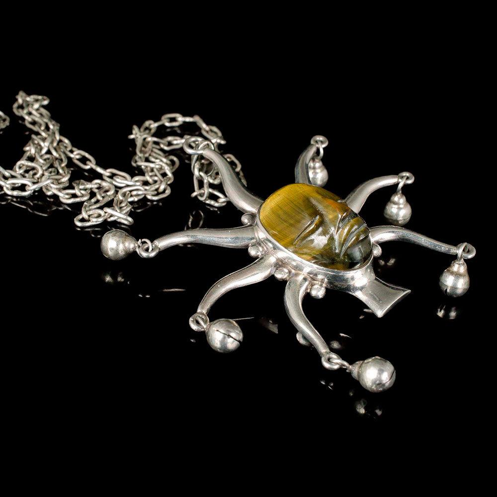 Los Ballesteros Mexican silver tiger's eye Joker Pendant Necklace