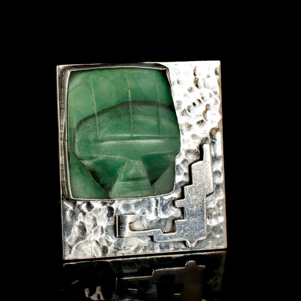"Carmen Beckmann Mexican silver stone ""mask"" Brooch"