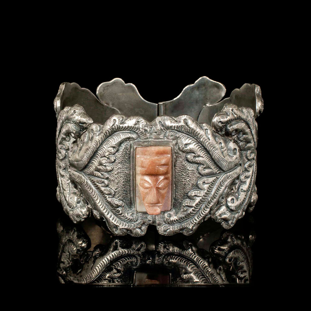 "P. Ochoa Mexican silver stone ""masquette"" Bracelet"