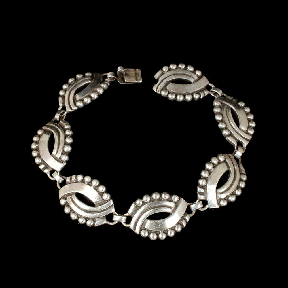 "Hector Aguilar Mexican 940 silver ""masks"" Bracelet"