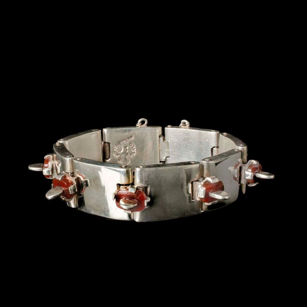 "Antonio Pineda 970 silver carnelian ""tongues"" Bracelet"