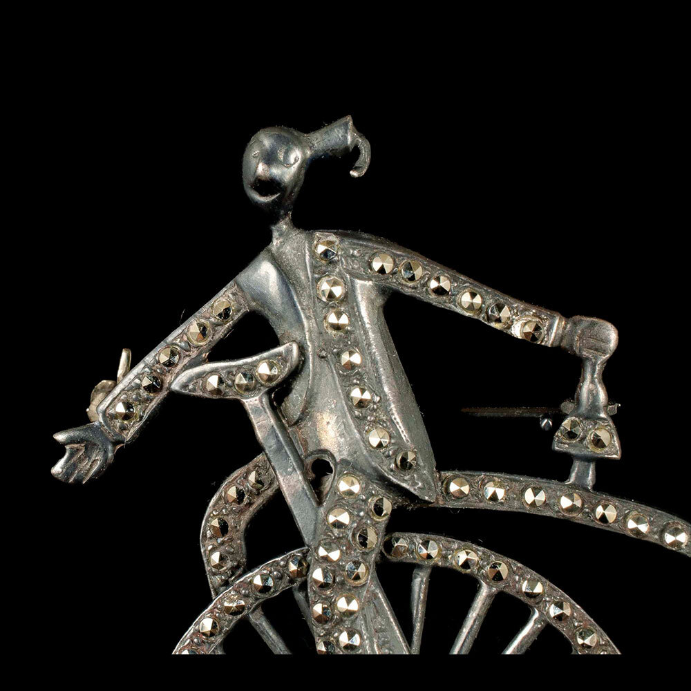 Deco silver and marcasites clown on boneshaker Brooch