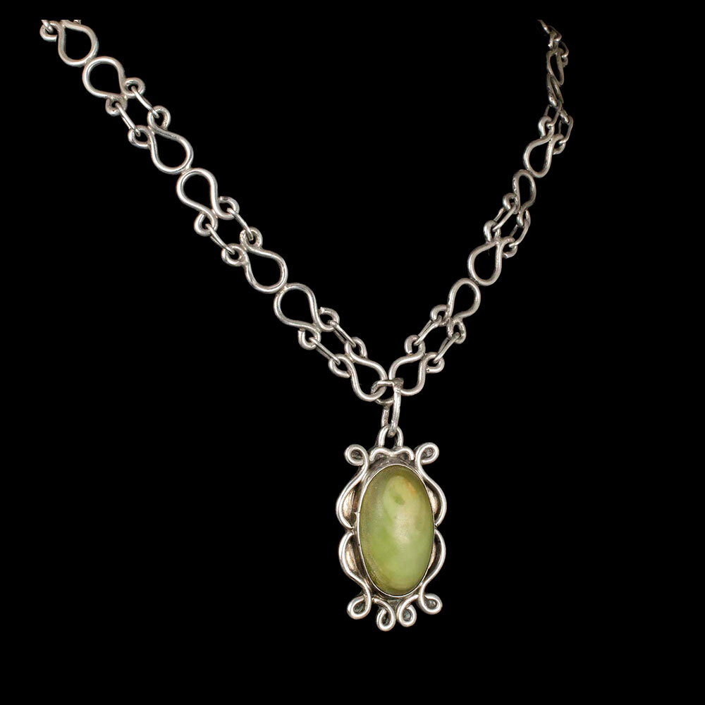 Mexican Deco silver and stone Pendant Necklace