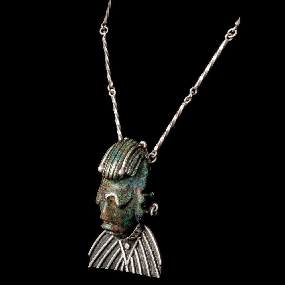 "Mexican silver azur malachite ""mask"" Pendant Necklace"