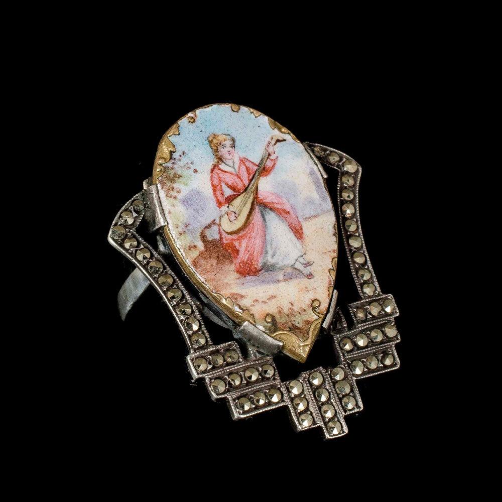 Art Deco silver marcasites and enamel figural Ring