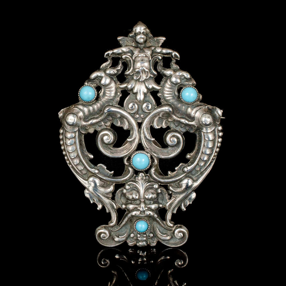 antique William Kerr silver and turquoise fantasy Brooch
