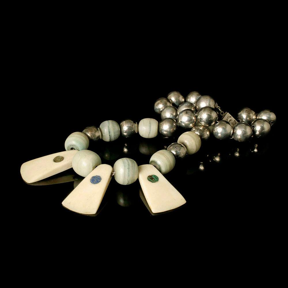 Reveri Castillo Mexican silver, bone and stone tribal Necklace