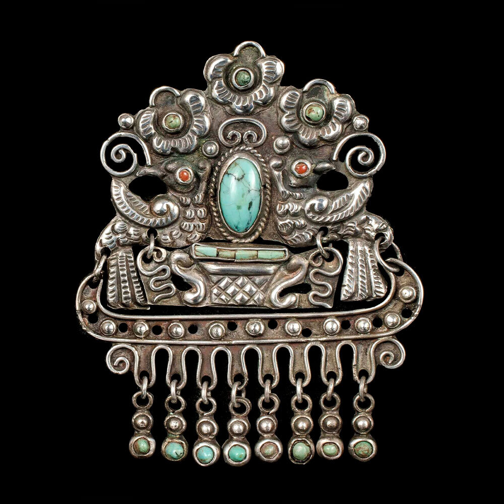 "early Matl Salas Mexican silver ""palomas"" Brooch"