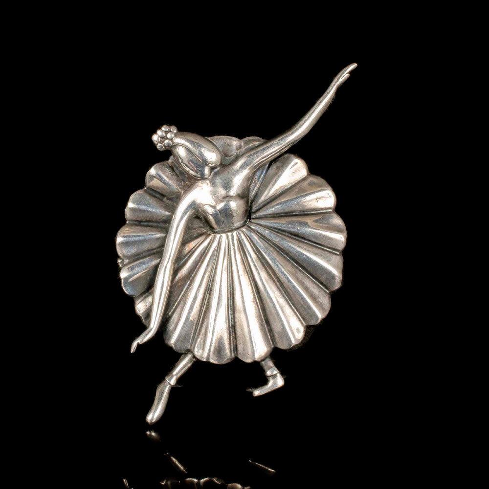 Margot de Taxco Mexican silver ballerina Brooch