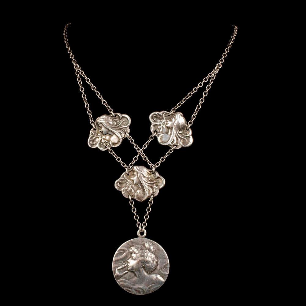 Art Nouveau silver Gibson girl and maiden Necklace