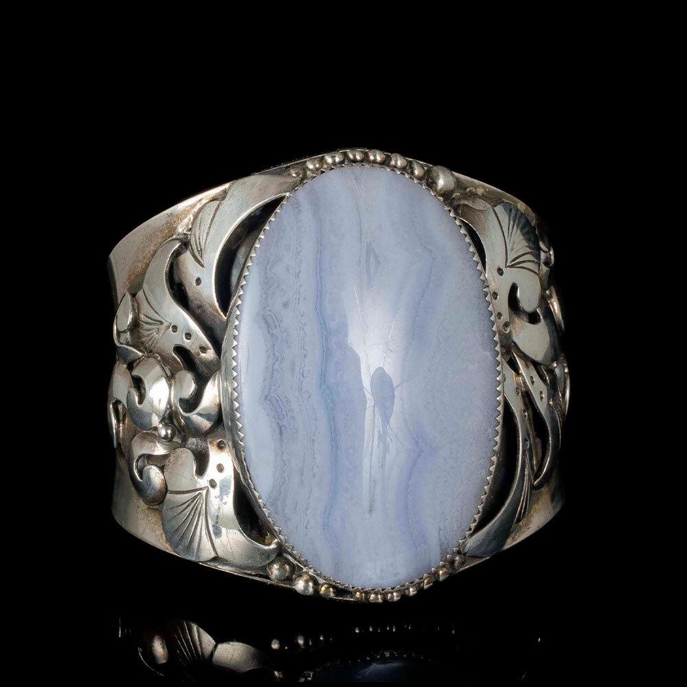 Southwestern silver lace agate Cuff Bracelet