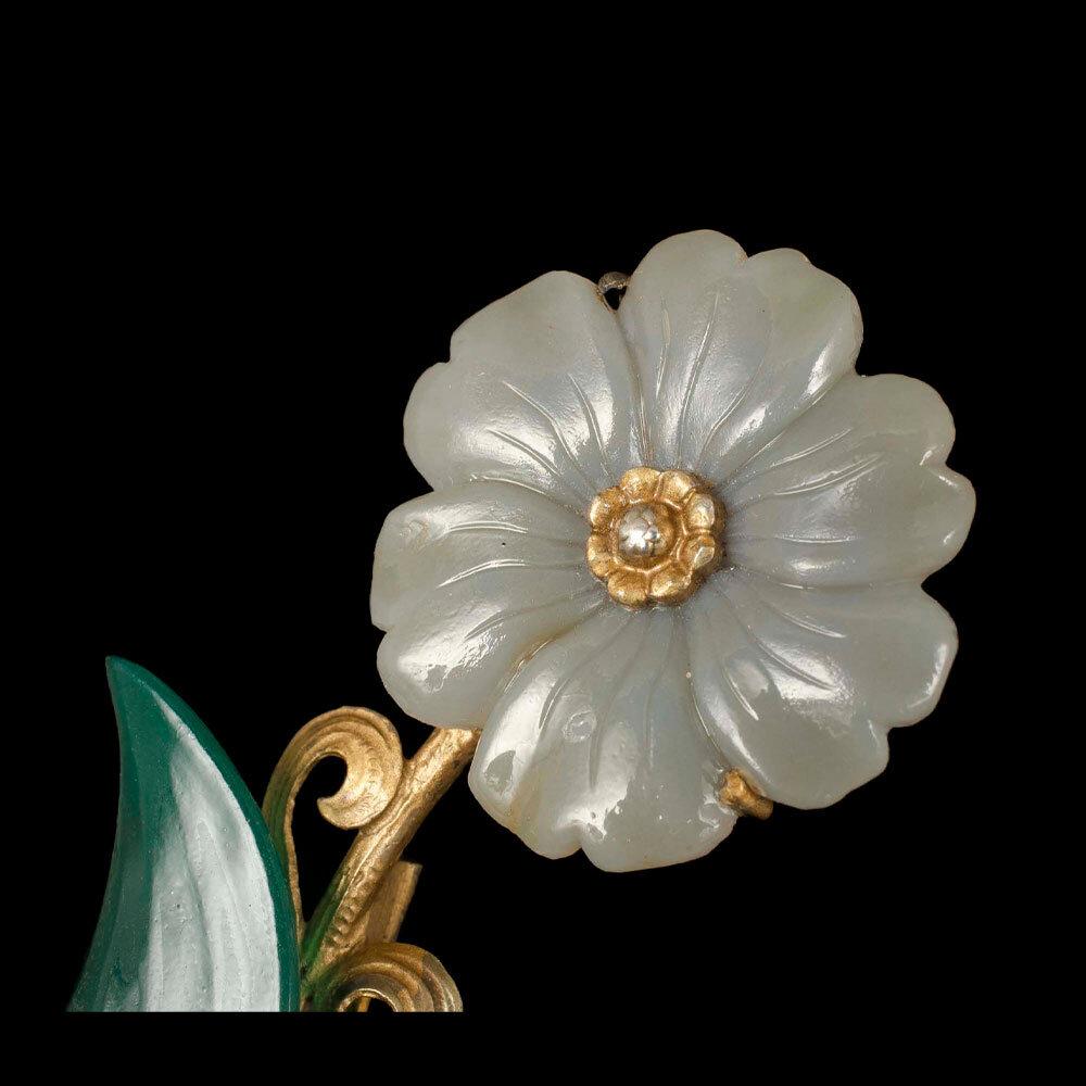 Birks silver vermeil jadeite glass floral Brooch / Scarf Pin
