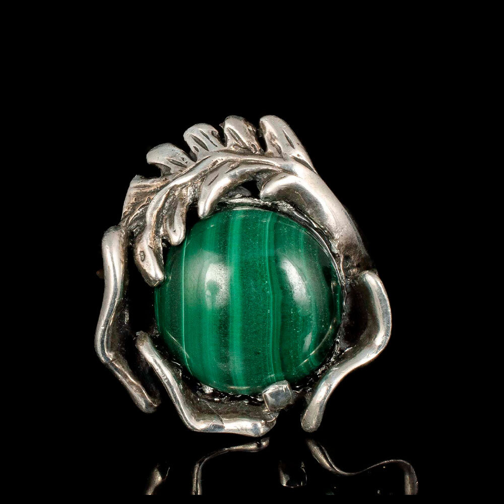 Mexican modernist 950 silver and malachite Ring