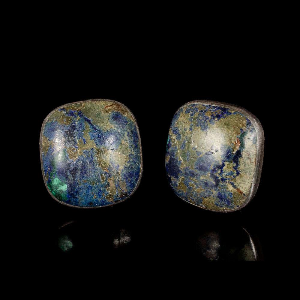 Martinez Piedra y Plata Mexican silver azur malachite Earrings