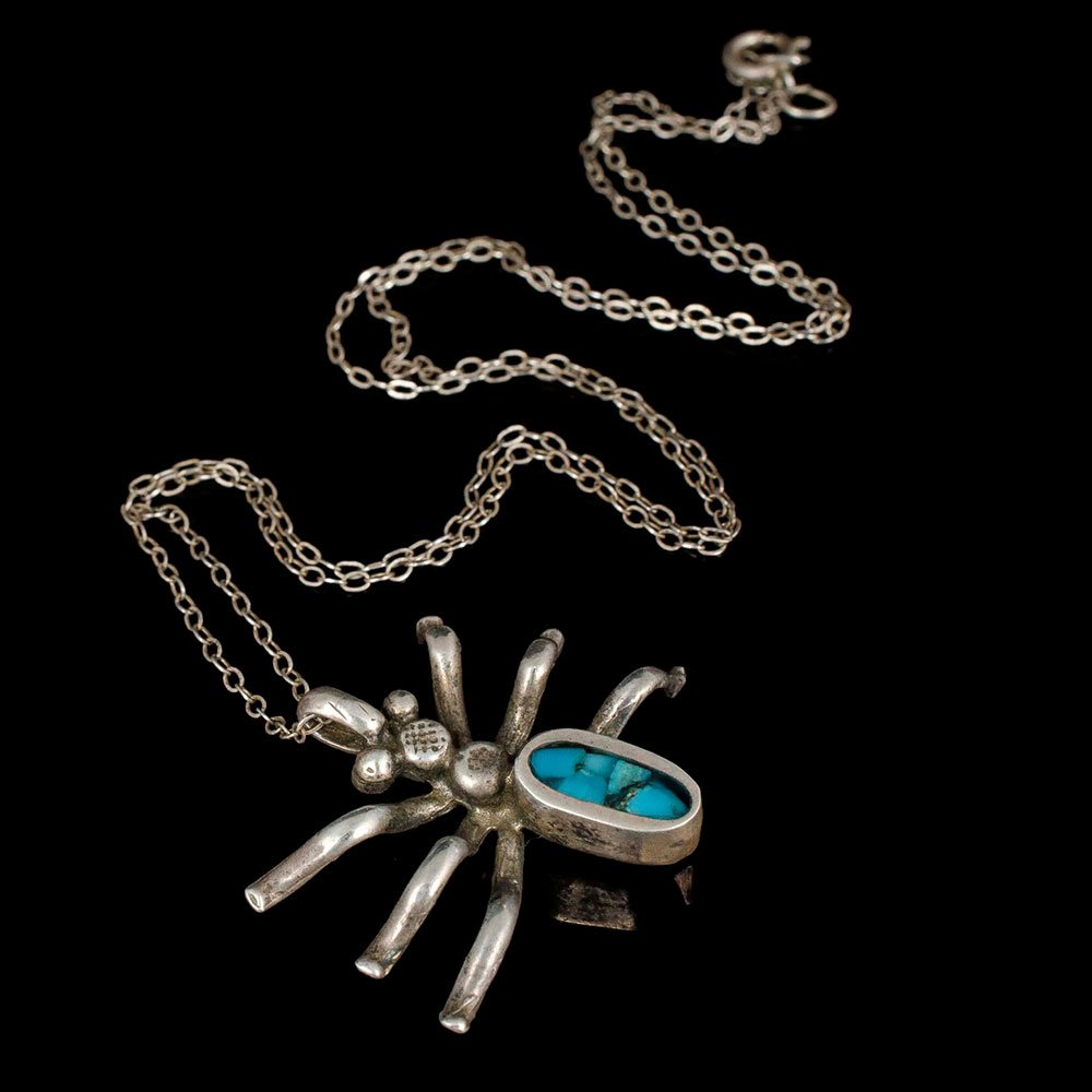 Native American silver turquoise spider Pendant Necklace