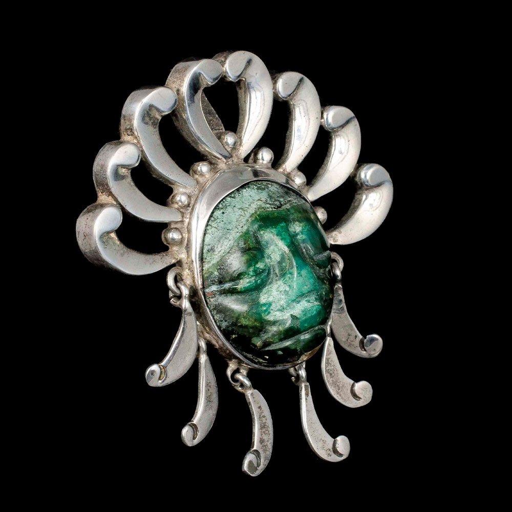 "Los Ballesteros Mexican silver azur-malachite ""mask"" Pin Pendant"