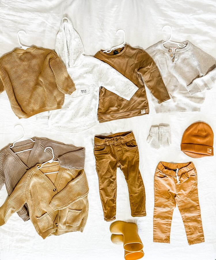 My son already had plenty of shirts and long sleeves that work for this season, so I focused mainly on outerwear, pants and accessories. I'm super happy with all the neutral sweaters I found for him! I'm digging the mustard and brown pants too, it's nice to have something different than the typical jeans. I feel like all of his pieces can be mixed around as well.