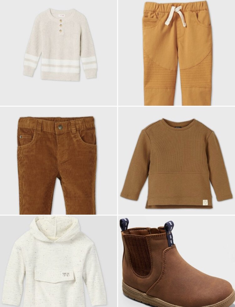 Striped Pullover Sweater, Cream, 4T (sold out, similar)    https://www.target.com/p/toddler-boys-cable-crew-neck-pullover-sweater-cat-jack-gray/-/A-79484983?preselect=79441464#lnk=sametab    Moto Pants, Gold, 3T    https://www.target.com/p/toddler-boys-moto-pull-on-pants-art-class-gold/-/A-79504379?preselect=79468424#lnk=sametab    Corduroy Pants, Brown, 3T    https://www.target.com/p/toddler-boys--39--cord-chino-pants---cat---38--jack--8482--brown-3t/-/A-79480267    Crewneck Sweatshirt, Brown, 3T    https://www.target.com/p/toddler-boys-crew-neck-sweatshirt-art-class-brown/-/A-80029498?preselect=79961170#lnk=sametab    Chukka Boots, Brown, 9    https://www.target.com/p/toddler-boys-esteban-chukka-boots-cat-jack-brown/-/A-79371730?preselect=78865059#lnk=sametab    Pullover Hoodie, White, 3T    https://www.target.com/p/toddler-boys-nep-pullover-art-class-white/-/A-79530604?preselect=79468554#lnk=sametab