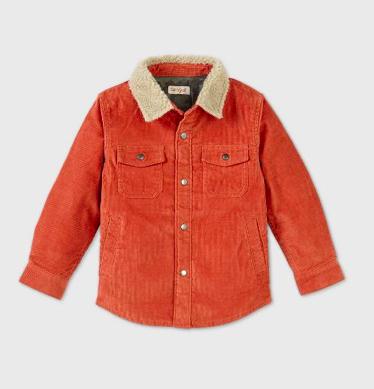 Corduroy Jacket, Orange, 4T    https://www.target.com/p/toddler-boys--39--foxtail-sherpa-collar-button-down-shirt---cat---38--jack--8482--orange-4t/-/A-79480172