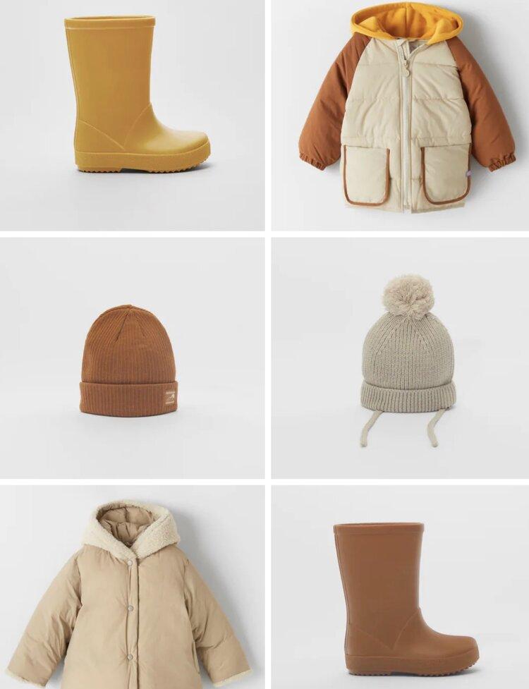 Rain Boots, Mustard, 9 & Russet Orange, 6 1/2    https://www.zara.com/us/en/rain-boots-p16601630.html    Contrasting Puffer Coat, Sand, 4-5 Years    https://www.zara.com/us/en/contrasting-puffer-jacket-p07901564.html    Ribbed Hat, Caramel, 3-5 Years    https://www.zara.com/us/en/label-detail-ribbed-hat-p07282599.html    Basic Knit Pom Hat, Sand, 1-3 Years    https://www.zara.com/us/en/basic-knit-pompom-hat-p01323586.html    Fleece Hood Puffer Coat, 18-24 Months    https://www.zara.com/us/en/sorona-®-dupont--puffer-coat-p05475571.html?v1=56140478&v2=1539763
