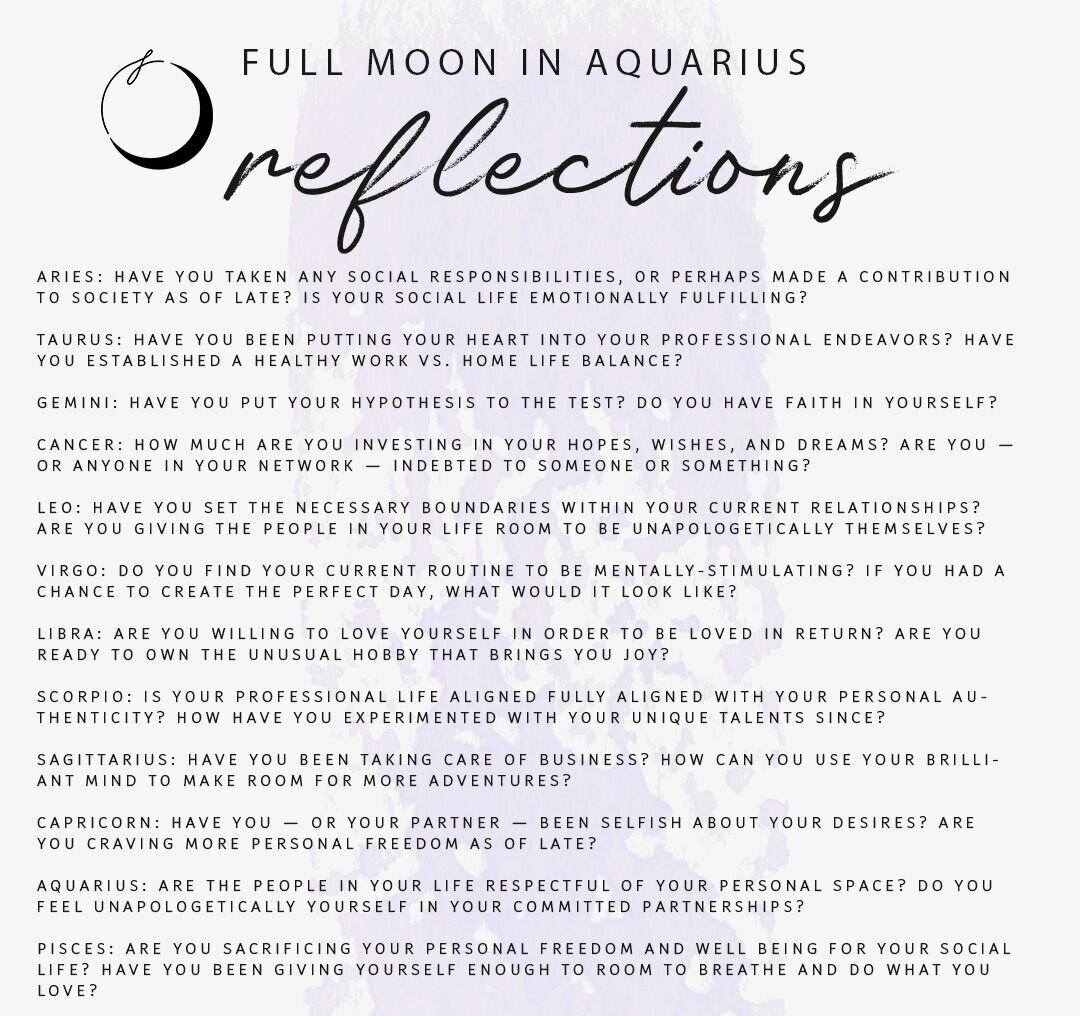 Full Moon in Aquarius What it means and Journal Prompts. — Moon ...