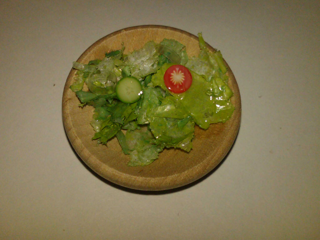Salad in Wooden Bowl
