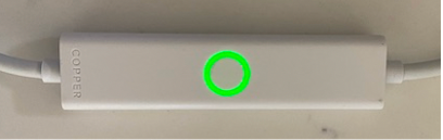 2. Blinking Green:  The Copper Cord is trying to connect to Copper's servers -