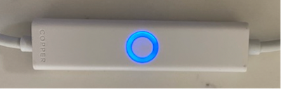 Blinking Blue:  The Copper Cord is trying to connect to WiFi -