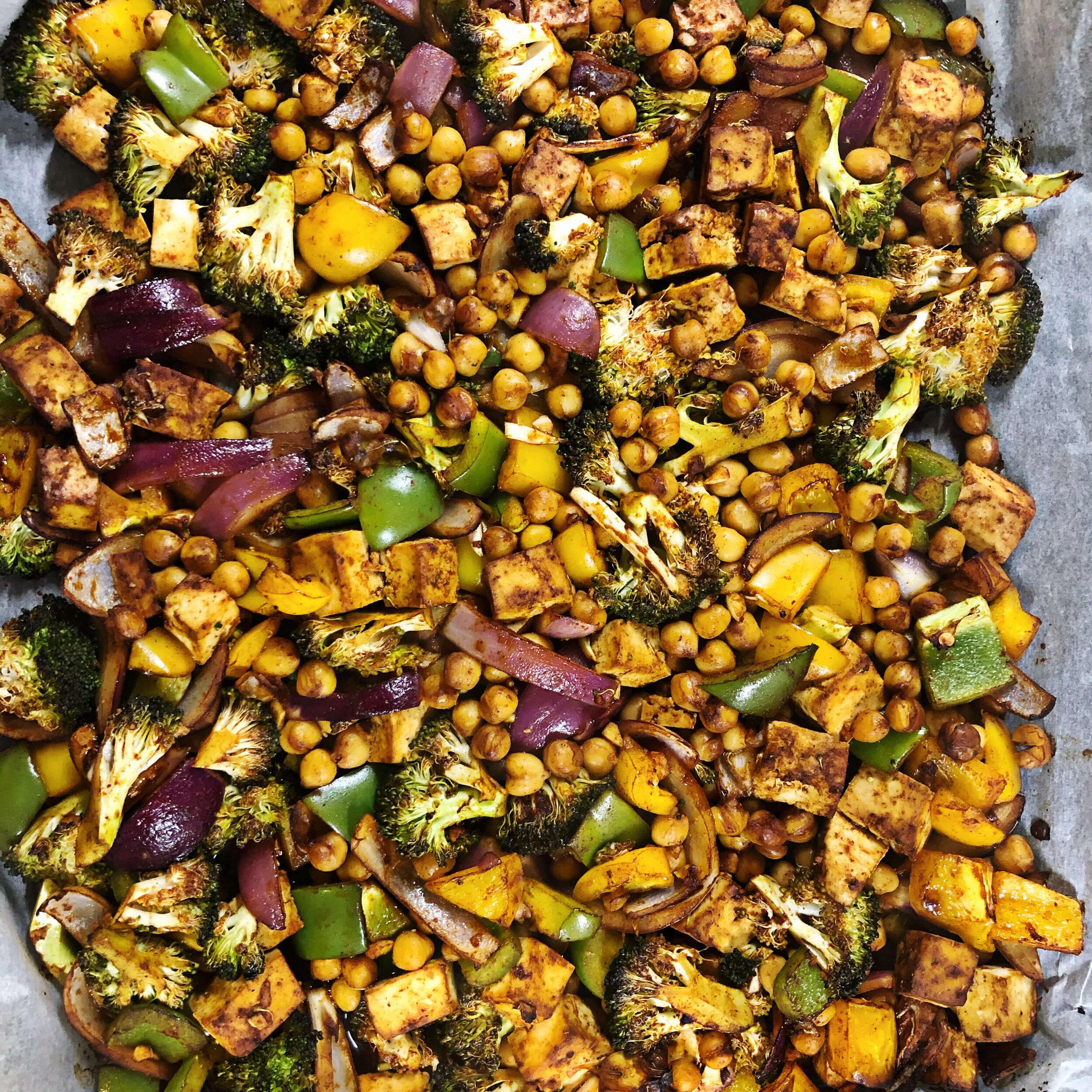 Healthy Organic Roasted Tofu Veggies and Chickpea Wraps