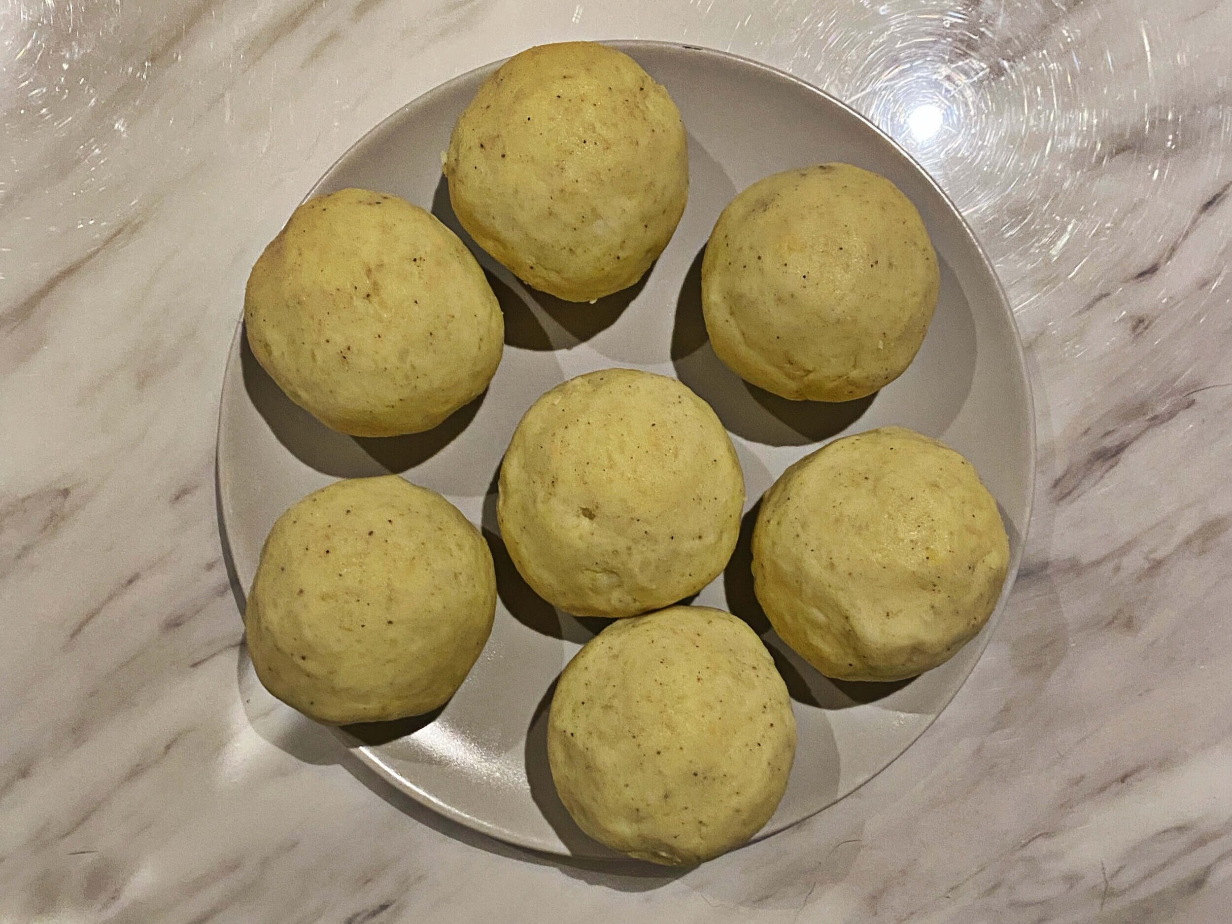 The potato dumplings before they are boiled.