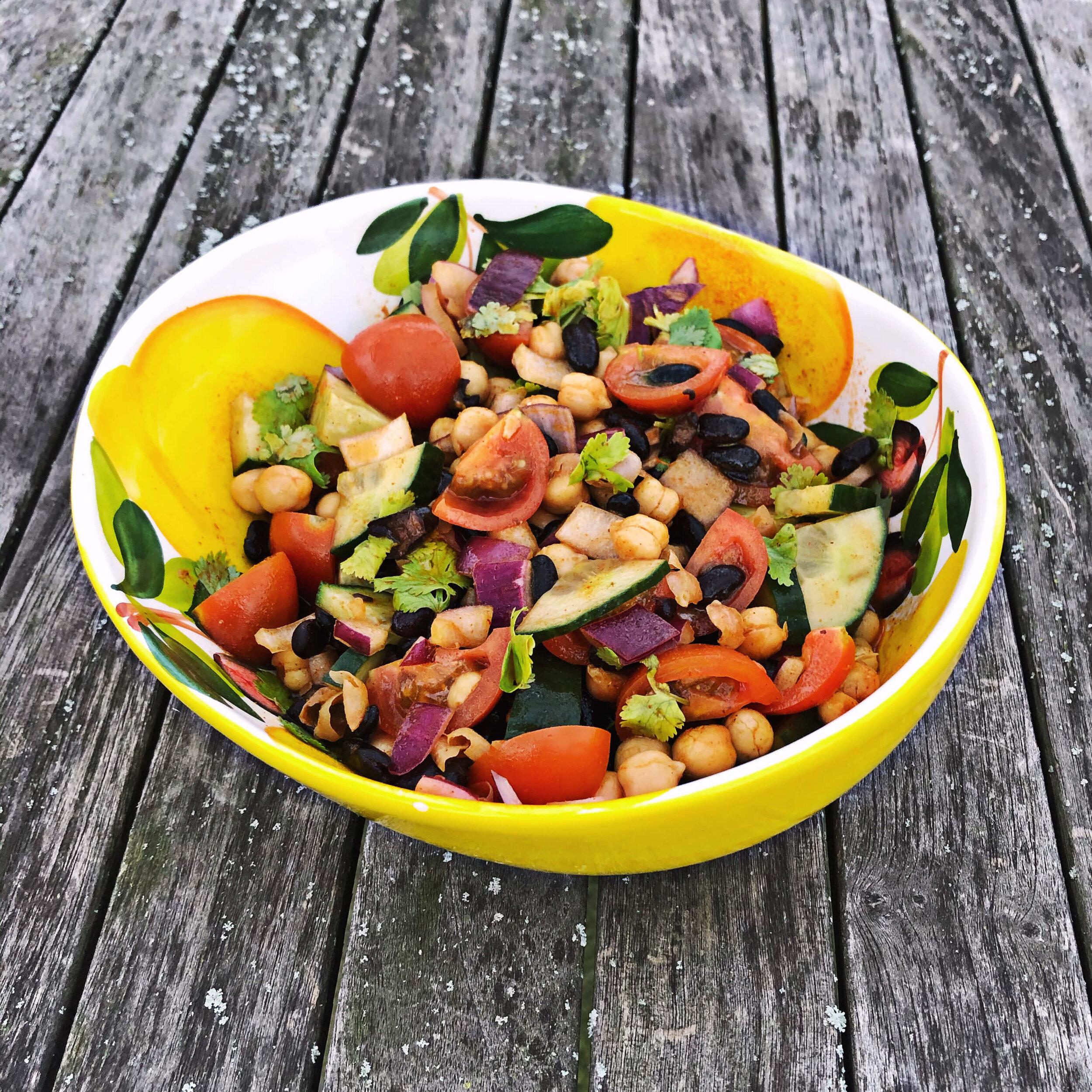 high protein vegan bean salad
