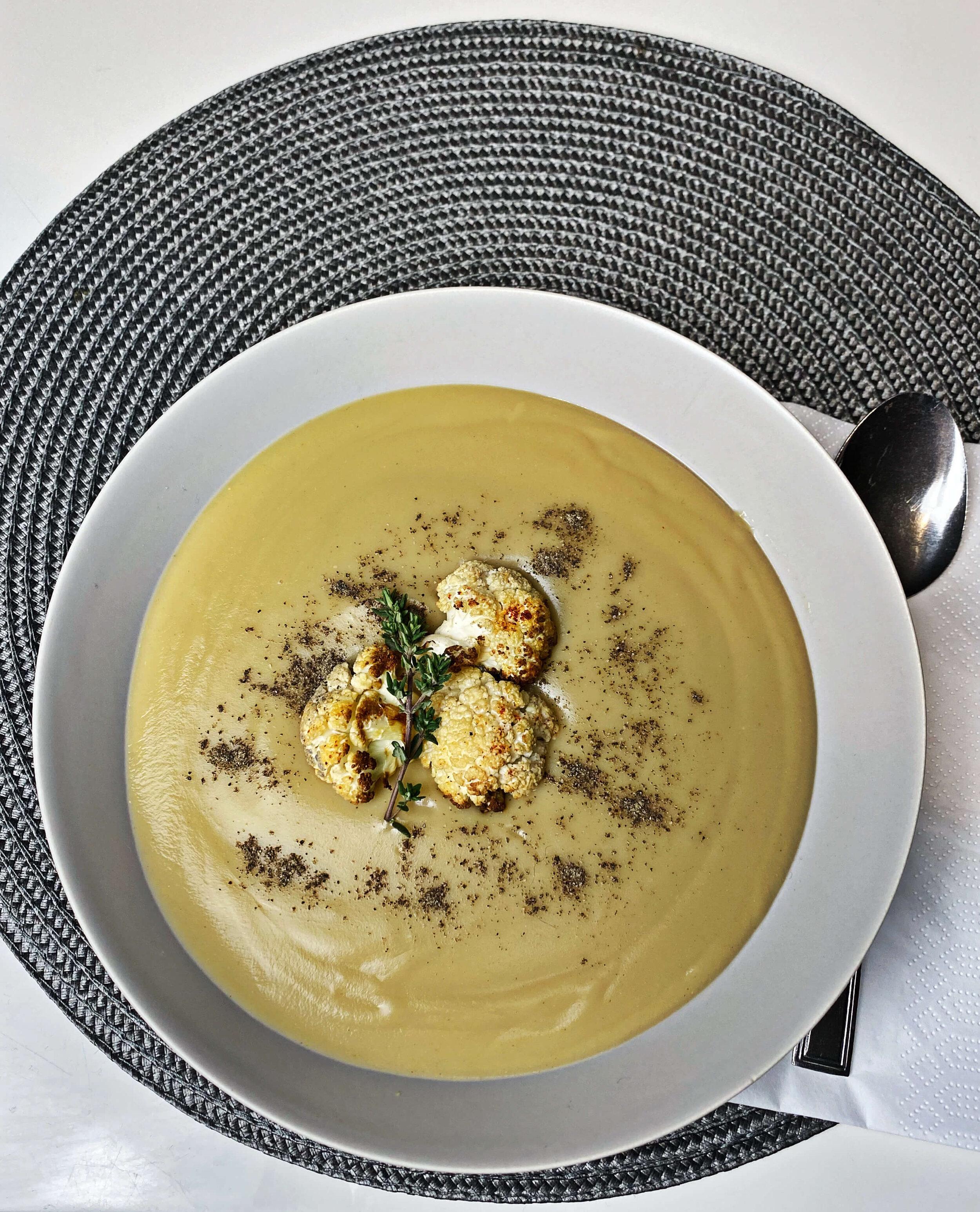 vegan cauliflower soup with potatoes