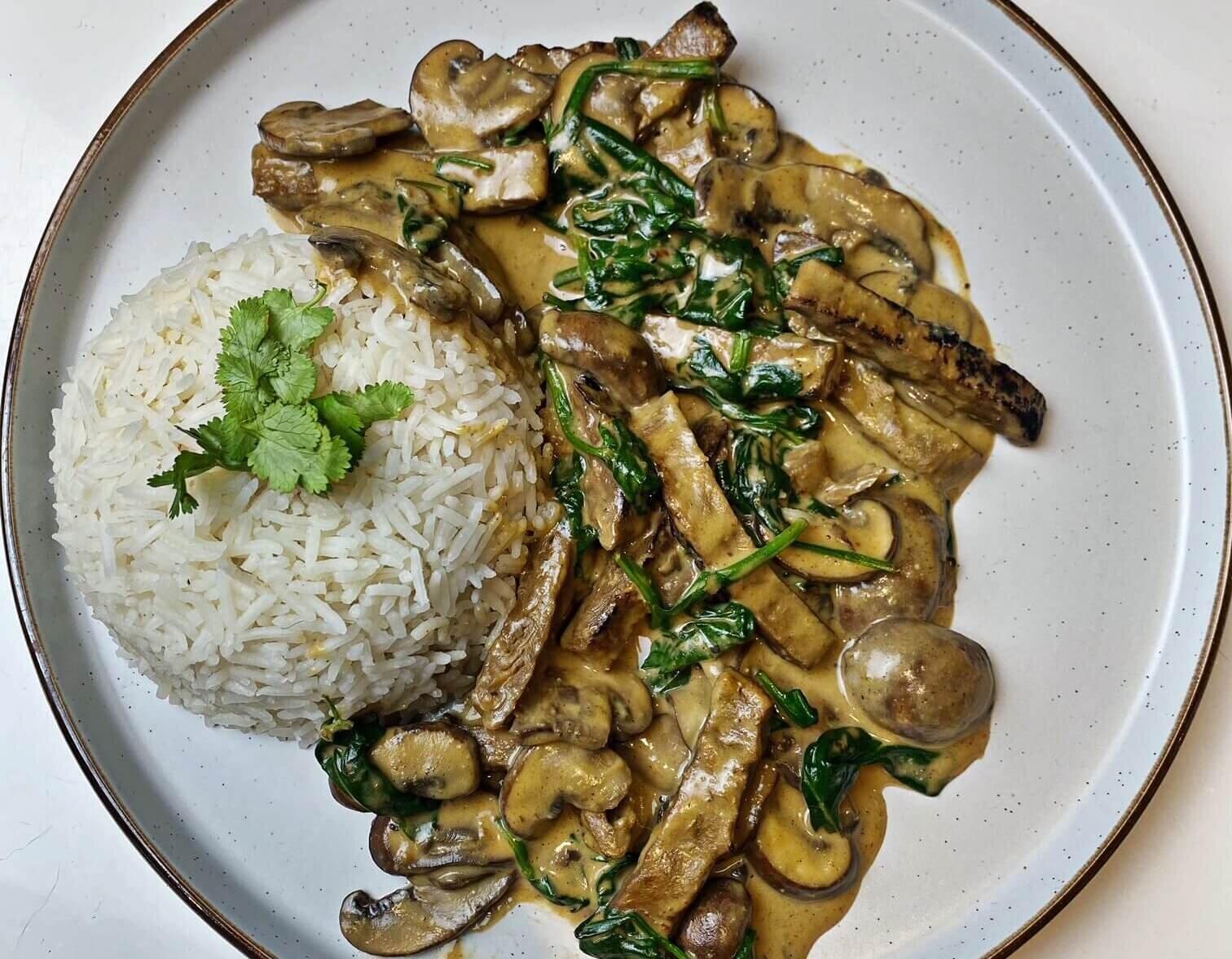 best vegan dinner creamed spinach and mushrooms