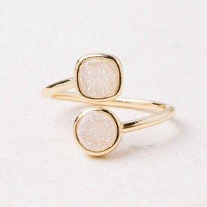 Deirdre White Druzy & Gold Wrap Ring