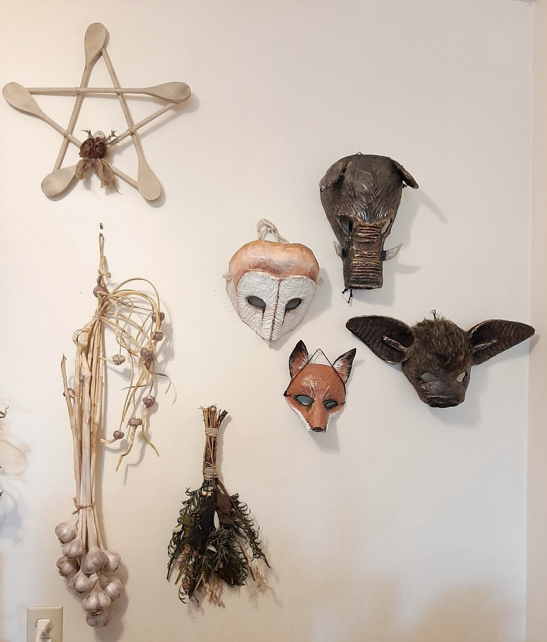 Joining the masks on the wall