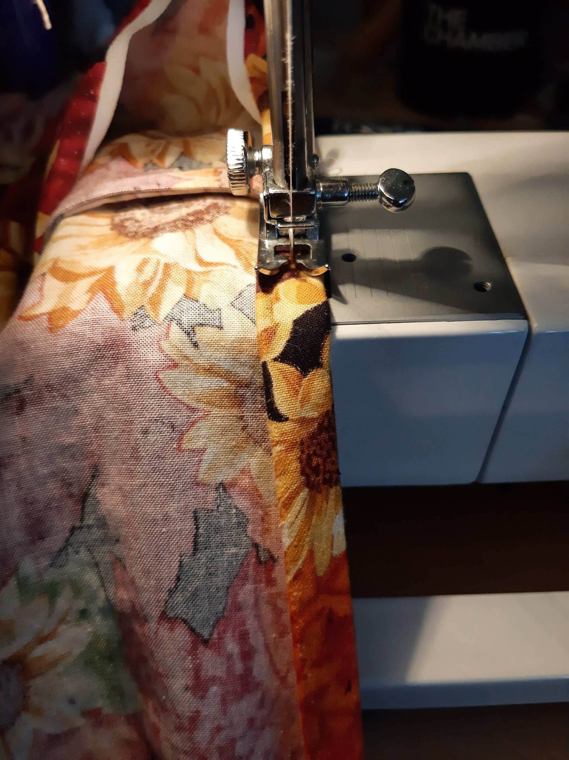 Sewing the hem.