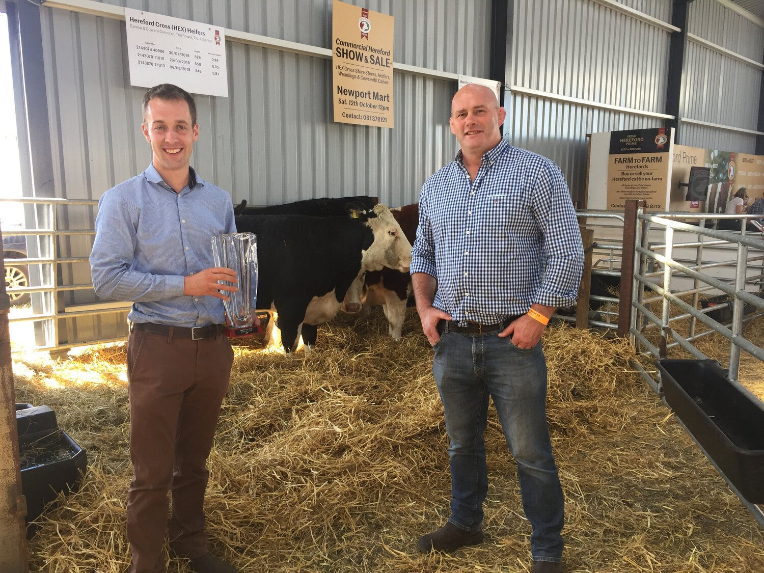 Hereford Prime farmer of the year Eamon Corcoran with Hereford Prime ambassador John Hayes at the National Ploughing Championships.