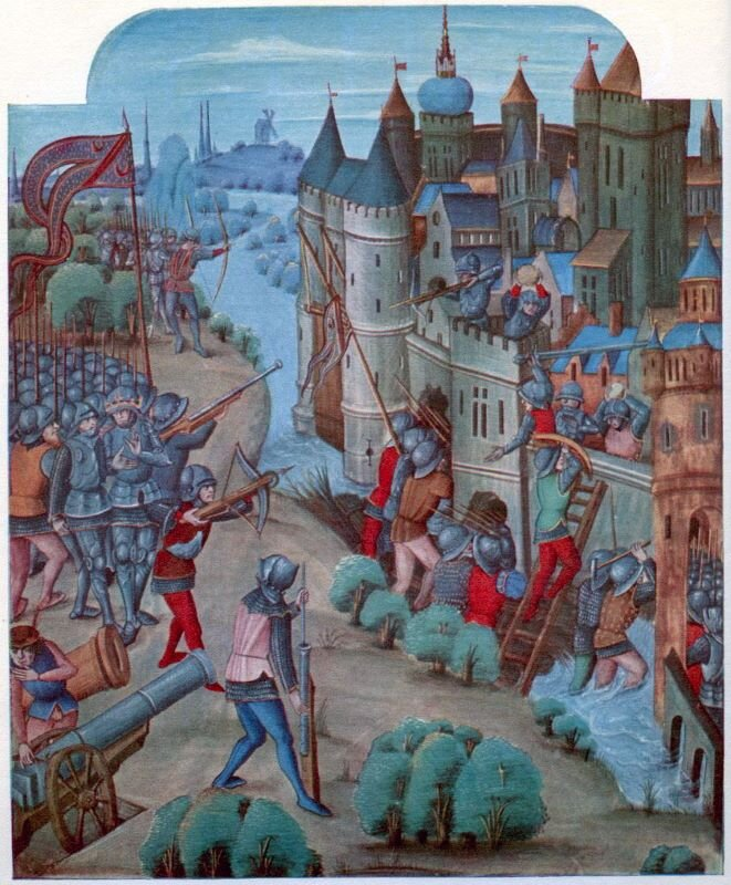 A siege of the fifteenth century, from a manuscript belonging to Edward IV  ( picture source )