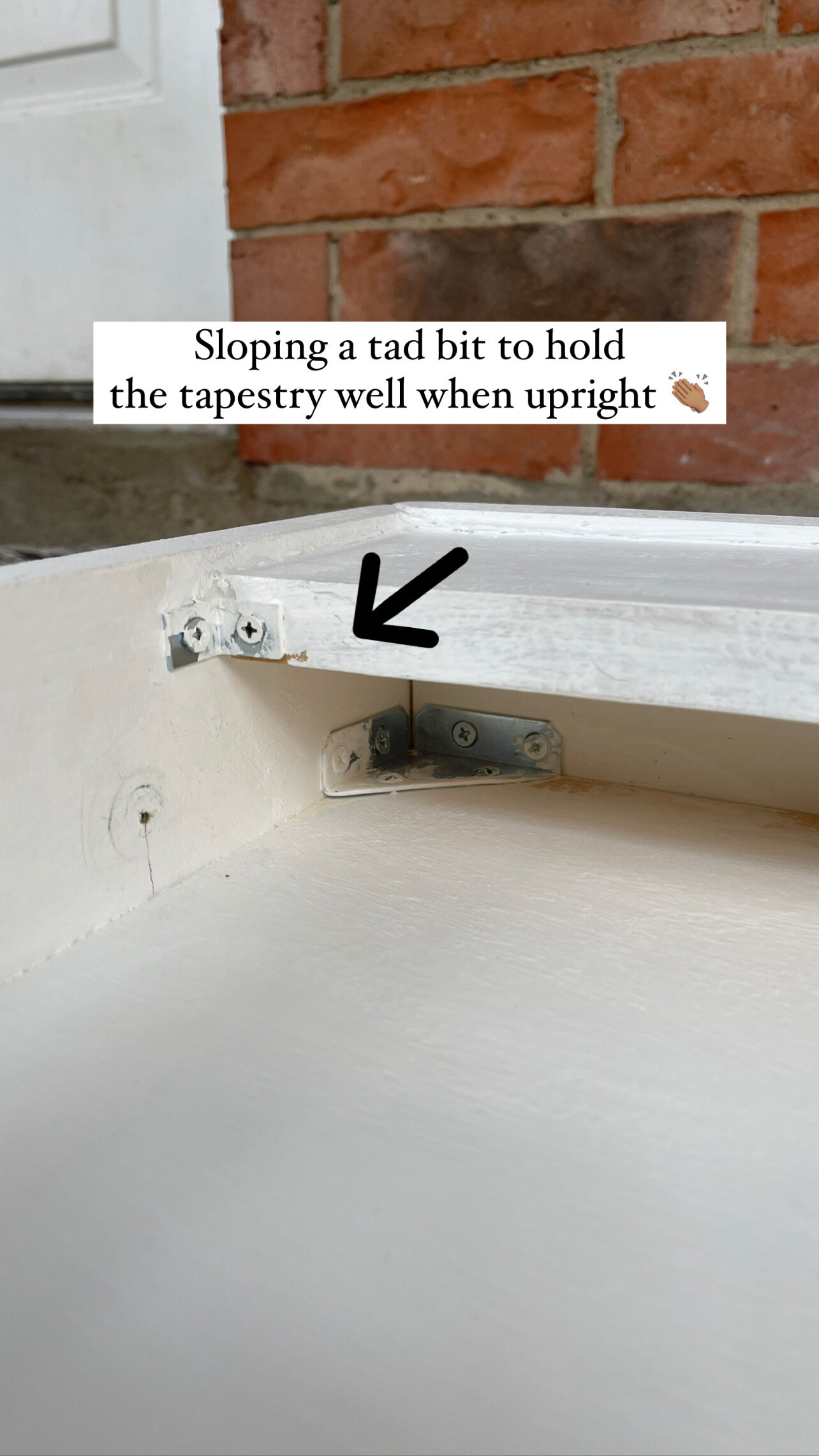 Building Tip - An important part of the design is that at the front of the shelf where you tuck in the rolled-up tapestry: I angled the board slightly forward so that gravity pulls the tapestry into the hidden shelf.